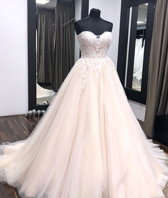 Unique sweetheart neck tulle lace applique long wedding dress, lace bridal dress - shdress