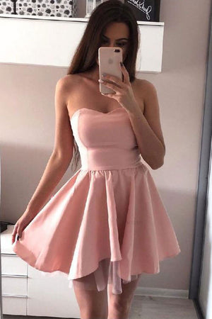 Pink chiffon short prom dress, pink homecoming dress