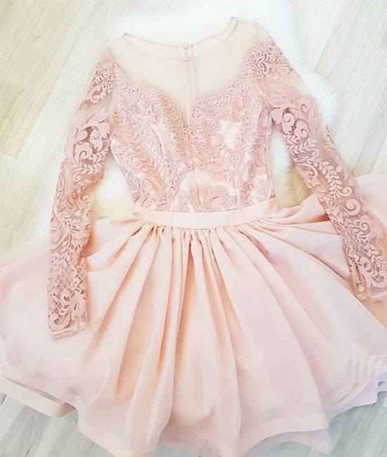 Pink round neck lace short prom dress, pink homecoming dress