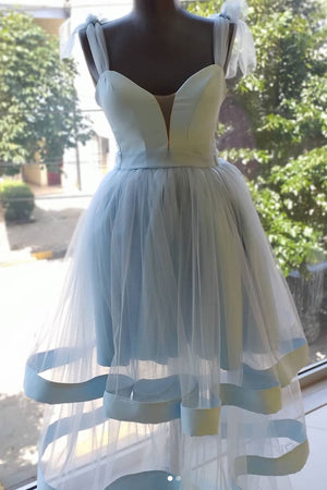Simple blue tulle short prom dress, blue tulle homecoming dress