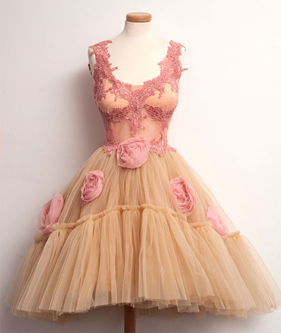 Cute champagne lace tulle short prom dress. cute homecoming dress - shdress