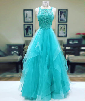 Unique tulle lace long prom dress, tulle evening dress - shdress