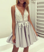 Gray chiffon lace short prom dress, cute homecoming dress