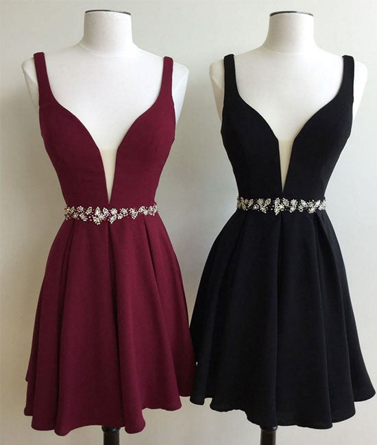 Simple v neck chiffon short prom dress. cute homecoming dress