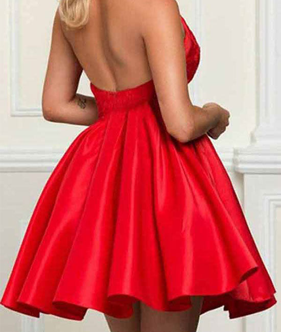 Red lace satin short prom dress, red homecoming dress - shdress