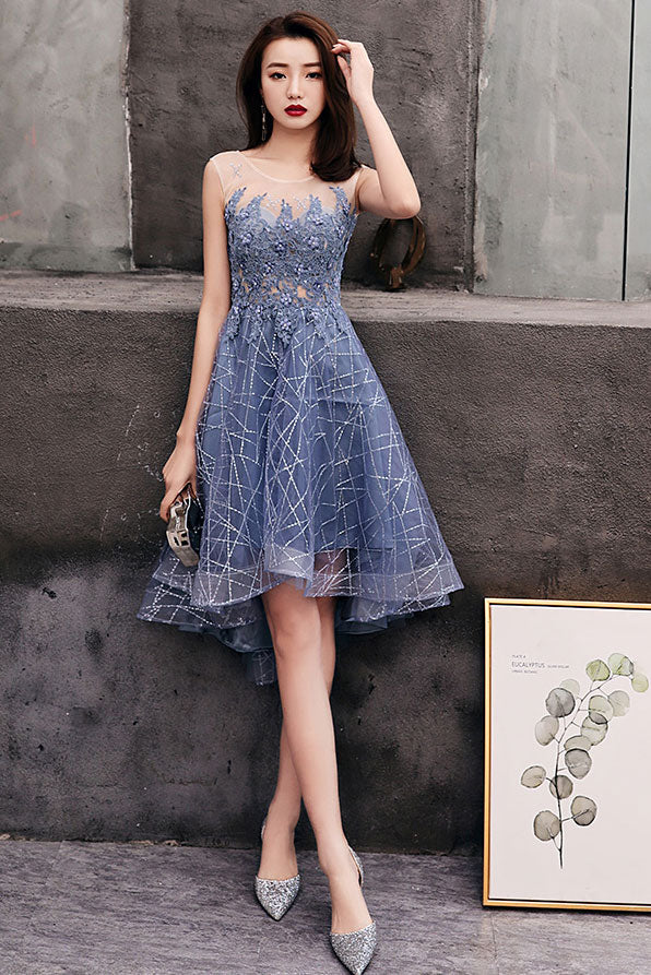 Blue round tulle lace short prom dress, blue homecoming dress