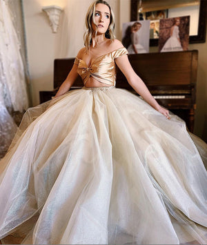 Unique champagne tulle long prom dress, evening dress