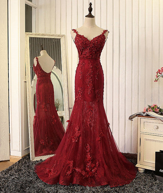 Red v neck lace mermaid long prom dress, red evening dress - shdress