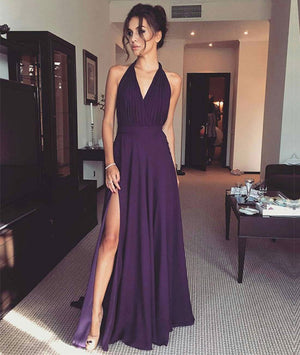 Simple v neck chiffon long prom dress, evening dress - shdress
