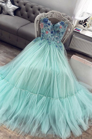 Green sweetheart tulle lace long prom dress green evening dress