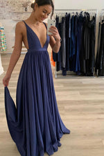 Blue chiffon long prom dress blue long evening dresss
