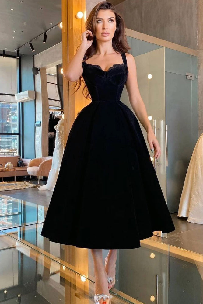 Black sweetheart velvet prom dress tea length black evening dress