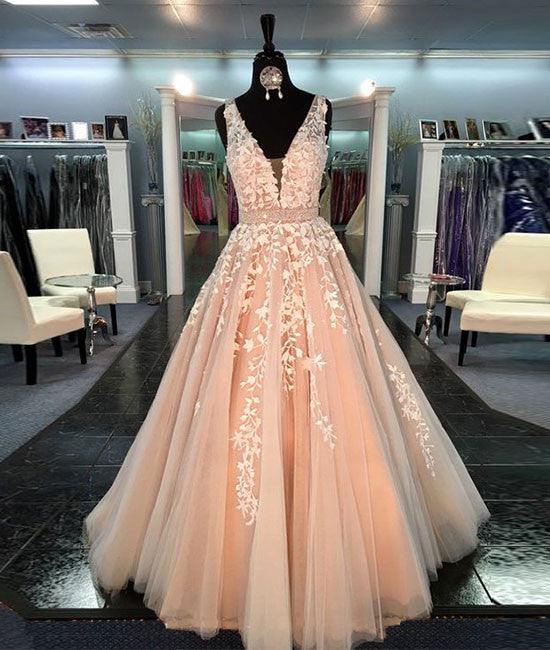 Unique v neck tulle lace long prom dress for teens, formal dress