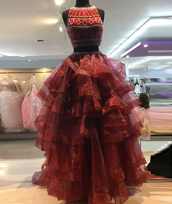 Burgundy two pieces organza long prom dress, evening dress - shdress