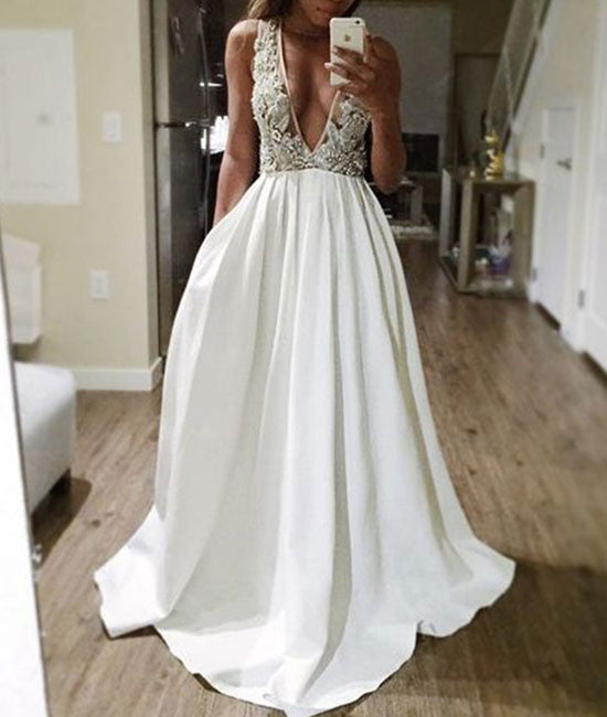 White v neck sequin beaded long prom dress, white evening dress - shdress