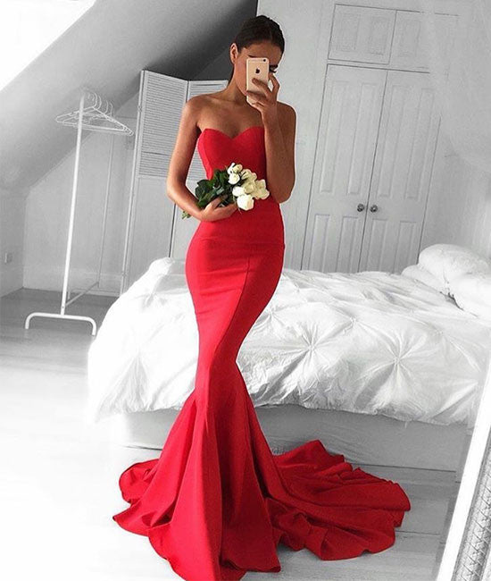 Simple sweetheart neck mermaid satin long prom dress, evening dress - shdress