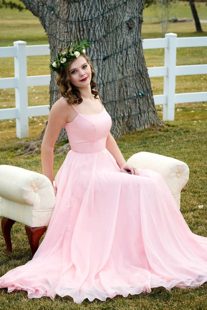Simple sweetheart pink chiffon long prom dress pink bridesmaid dress