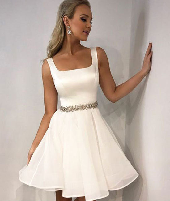 Simple white satin short prom dress, white homecoming dress - shdress