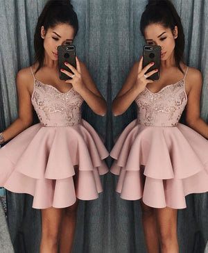 Pink sweetheart sequin short prom dress, pink homecoming dress - shdress