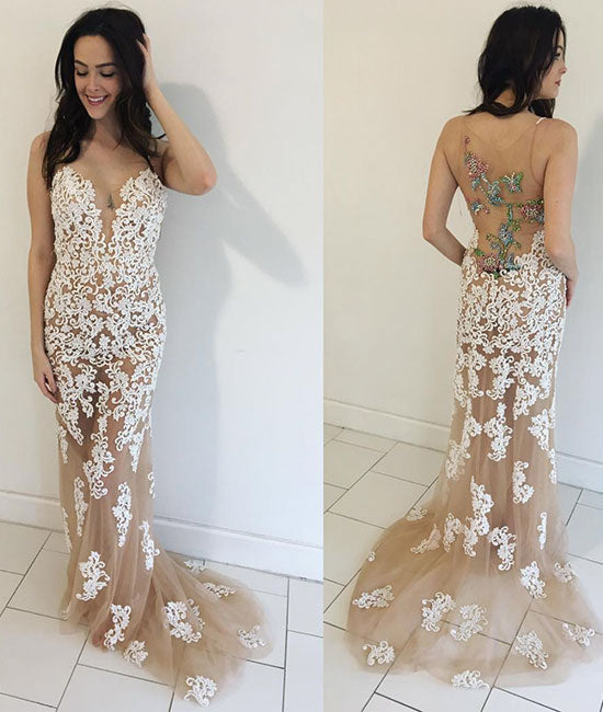 Champagne tulle lace mermaid long prom dress, evening dress