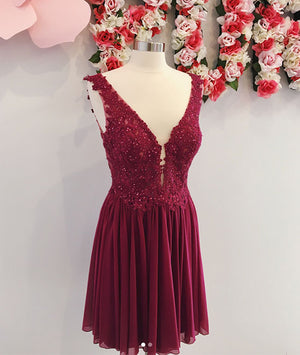 Burgundy v neck chiffon lace short prom dress, homecoming dress - shdress