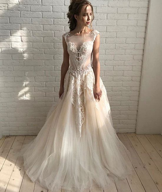 Champagne round neck tulle lace long prom dress, champagne evening dress - shdress