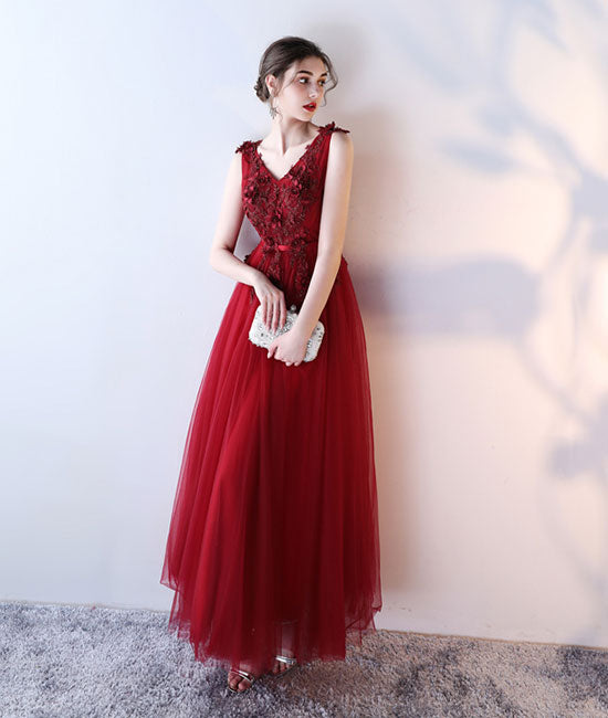 Burgundy v neck tulle lace applique long prom dress, burgundy evening dress - shdress