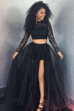 Black lace two pieces tulle long prom dress, black evening dress