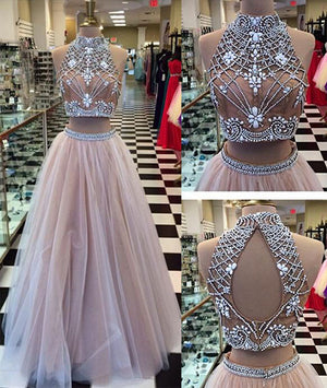 Champagne Tulle beaded 2 Pieces Long Prom Dresses, Formal Dresses - shdress