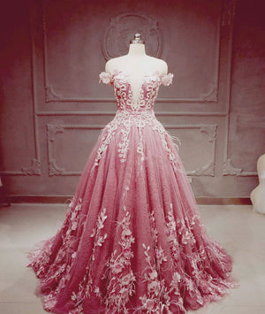 Pink tulle lace long prom dress, pink tulle lace evening dress
