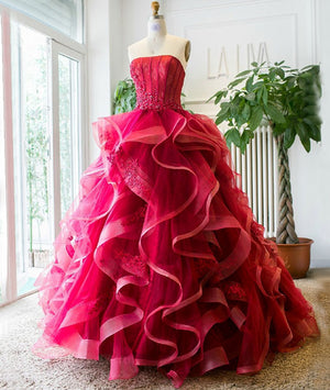 Unique tulle lace burgundy long prom dress, burgundy evening dress - shdress