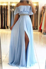 Blue chiffon long prom dress, blue chiffon evening dress