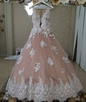 Unique tulle lace applique pink long prom dress, sweet 16 dress - shdress