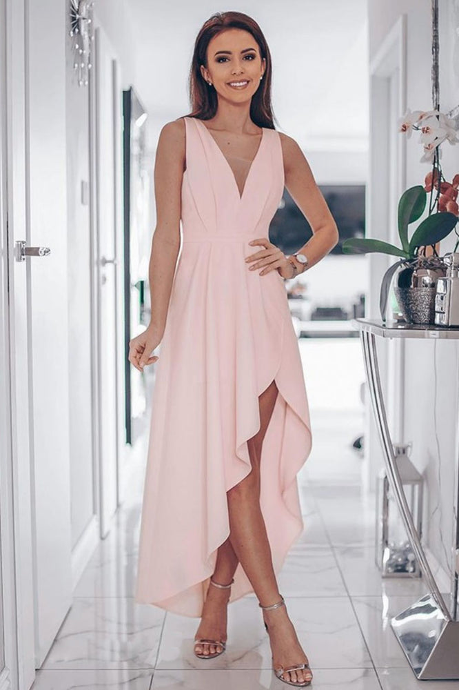 Simple v neck pink satin long prom dress, pink evening dress
