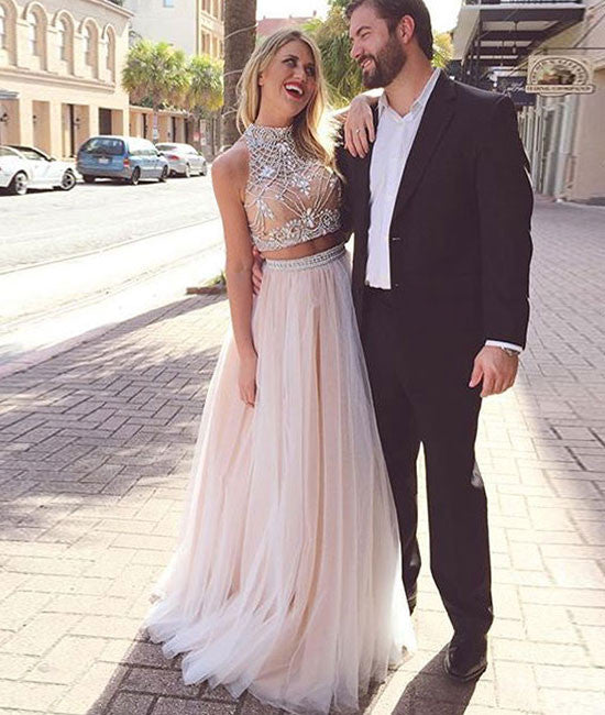 Unique tulle champagne long prom dress, formal dress