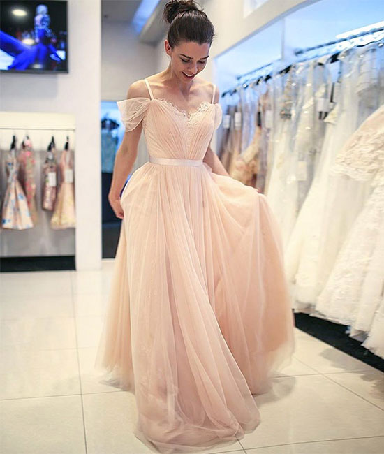 Champagne tulle off shoulder long prom dress, champagne evening dress - shdress