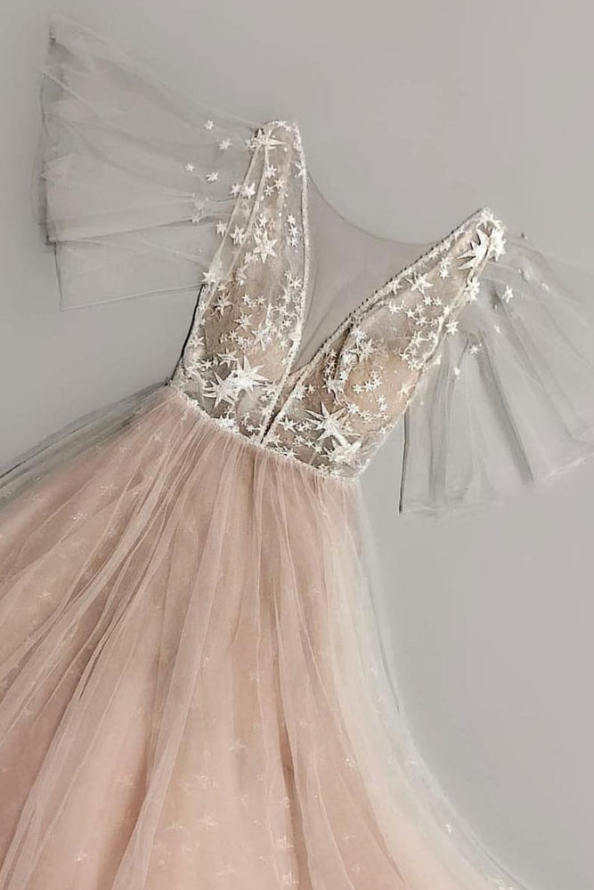 Champagne tulle lace long prom dress, champagne evening dress