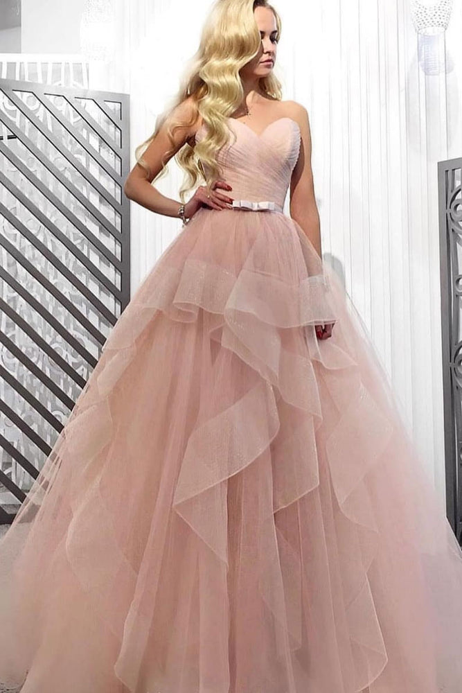 Pink sweetheart tulle long prom dress, tulle evening dress