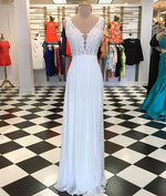 White A-line chiffon lace long prom dress, white bridesmaid dress