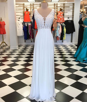 White A-line chiffon lace long prom dress, white bridesmaid dress - shdress