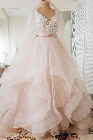 Unique v neck tulle lace long prom dress, tulle wedding dress