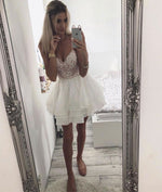 White sweetheart neck lace short prom dress, white homecoming dress