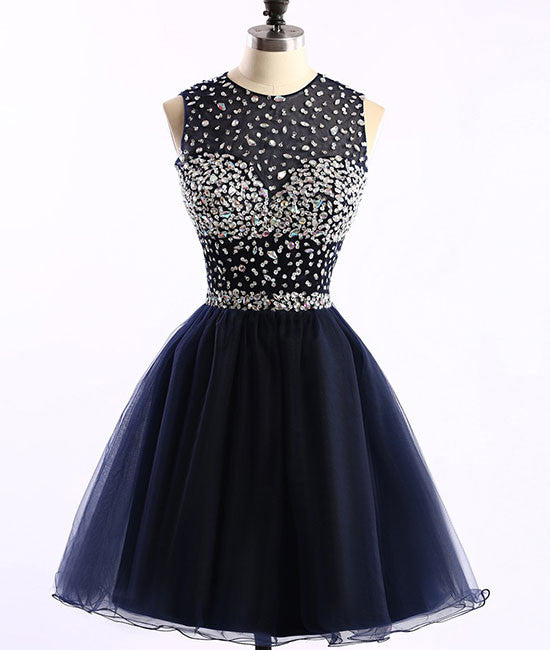 Dark blue tulle short prom dress, cute homecoming dress