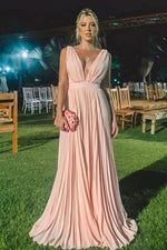 Simple pink v neck chiffon long prom dress pink formal dress