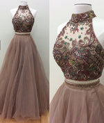 Champagne two pieces beads long prom dress, evening dress