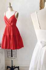 Simple satin red short prom dress red cocktail dress