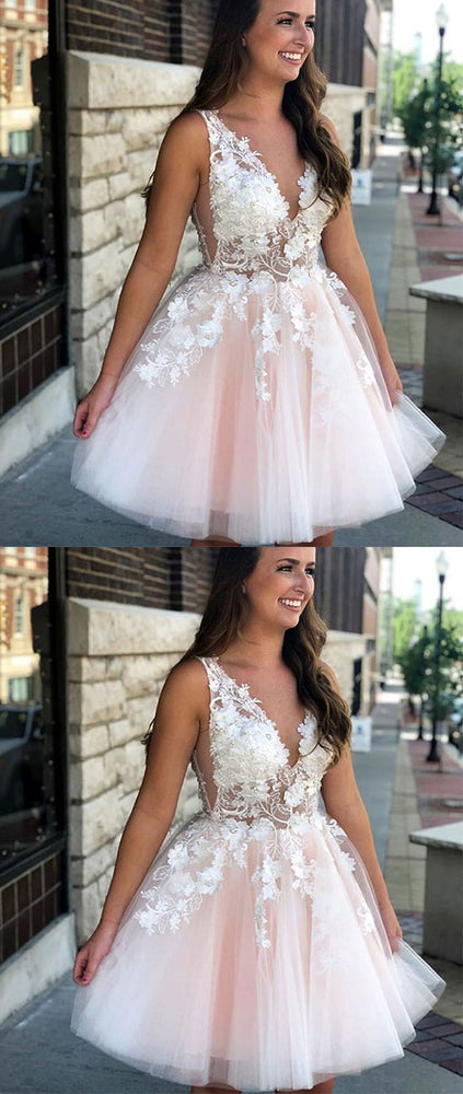 Pink v neck tulle lace applique short prom dress, pink homecoming dress - shdress