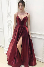 Simple v neck burgundy long prom dress evening dress