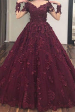 Burgundy v neck tulle lace long prom dress, burgundy lace evening dress