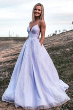 Purple v neck tulle long prom dress, light purple evening dress